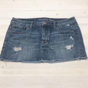 American Eagle distressed denim jean mini skirt